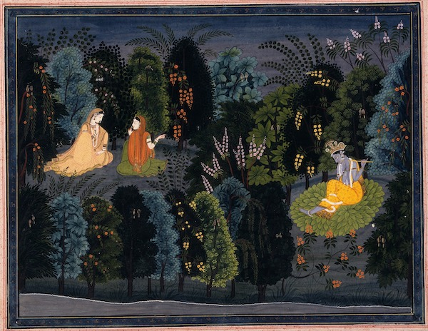 "Companion Persuading Radha as Krishna Flutes, Folio from the ""Lambagraon"" Gita Govinda"